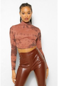 Chocolate brown Rib Tie Dye Open Back Crop Top