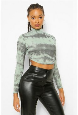 Teal green Rib Tie Dye Open Back Crop Top