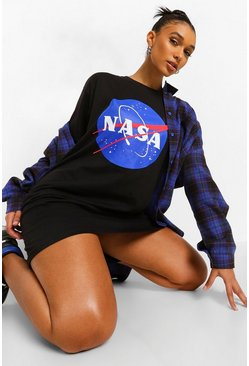 Black NASA License Print T-Shirt Dress