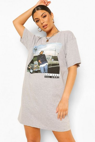 Grey Ice Cube Photo License Print T-Shirt Dress