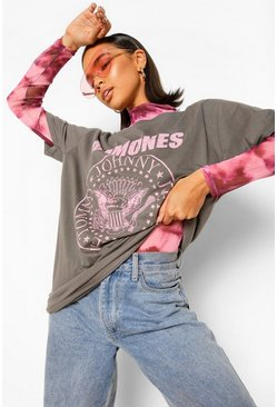 Charcoal grey Ramones Pink Seal License Print T-Shirt