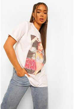 White Aaliyah Photo License Print T-Shirt