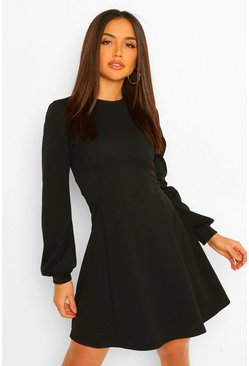 Blouson Sleeve Skater Dress, Black nero