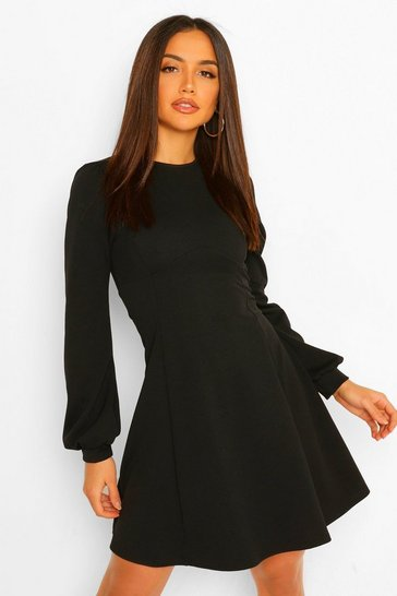 Black Blouson Sleeve Skater Dress