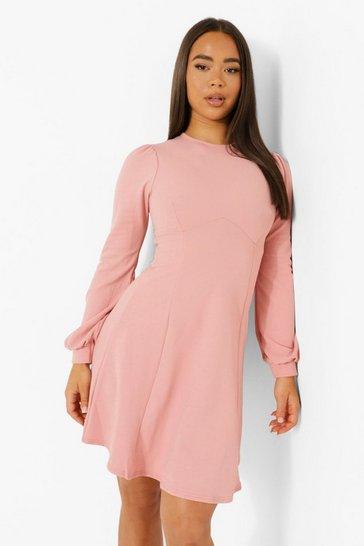 Rose pink Blouson Sleeve Skater Dress