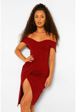 Off The Shoulder Wrap Skirt Midi Dress, Berry rosso