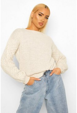 Stone beige Honeycomb Sleeve Crew Neck Jumper