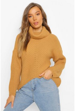 Camel beige Roll Neck Asymmetric Jumper
