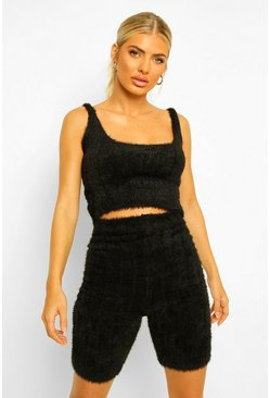 Fluffy Knit Crop And Cycle Short Set, Black negro