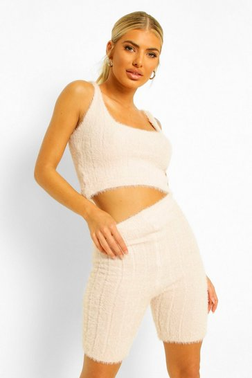 Pink Fluffy Knit Crop And Cycle Short Set