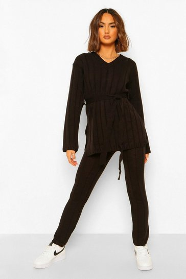 Black Knitted Belted Top And Trouser Set