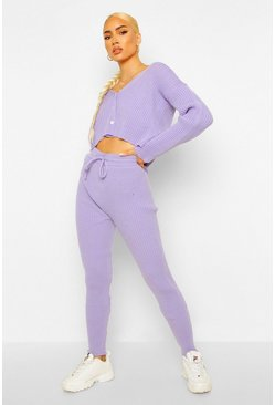 Lilac purple Knitted Cardigan And Leggings Set