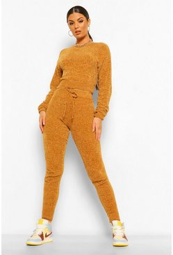 Camel beige Chenille Knit Crop Top Trouser Set