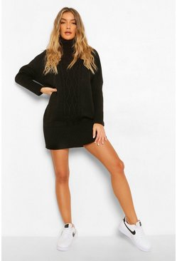 Black Cable Turtleneck Sweater Dress