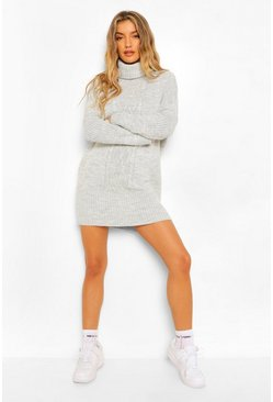 Grey Cable Roll Neck Jumper Dress