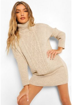 Cable Roll Neck Jumper Dress, Stone beige
