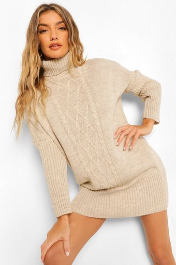 Stone beige Cable Roll Neck Jumper Dress