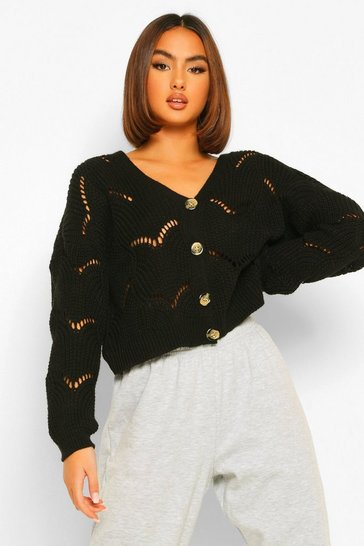 Black Chunky Pointelle Knit Cardigan