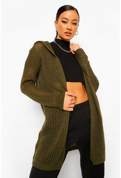 Khaki Hooded Chunky Knit Cardigan