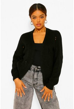 Black Fray Fisherman Crop Cardigan