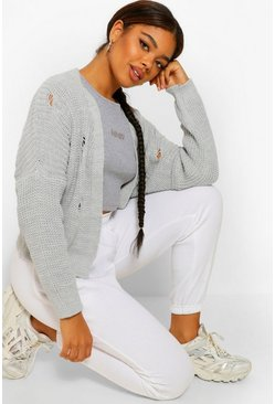 Grey Fray Fisherman Crop Cardigan