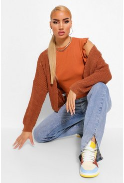 Fray Fisherman Crop Cardigan, Tan marron