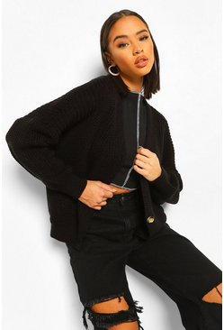 Black V Neck Fisherman Cardigan