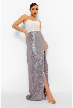 Silver Sequin Side Split Maxi Skirt