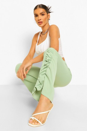 Sage green Ruched Side Flared Skinny Trouser