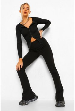Back Split Hem Skinny Trouser , Black noir
