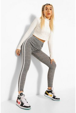 Grey Checked Double Side Stripe Leggings