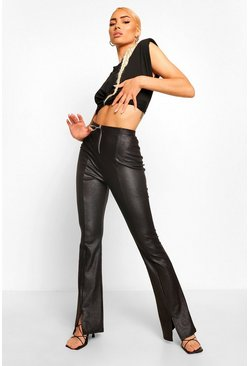 Black Leather Look Ring Zip Detail Split Hem Trousers
