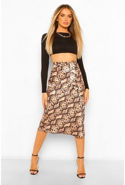 Brown Snake Print Knot Front Satin Midi Skirt