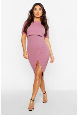 Mauve Layered Wrap Wiggle Midi Dress