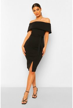 Off The Shoulder Split Midi Bodycon Dress, Black nero