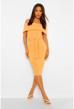 Off The Shoulder Split Midi Bodycon Dress, Orange