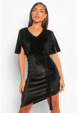 Black Velvet Split Sleeve Mini Dress