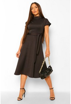 Funnel Neck Belted Midi Skater Dress, Black negro