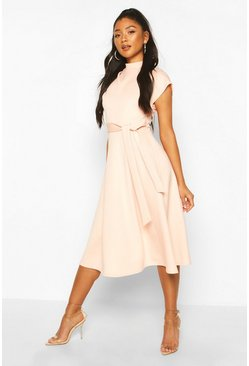 Blush pink Funnel Neck Belted Midi Skater Dress