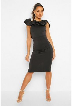 Puff Ruffle Bardot Midi Dress, Black negro