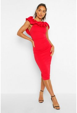 Red Puff Ruffle Bardot Midi Dress