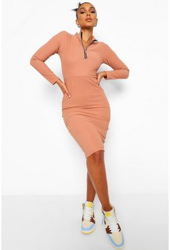 Mocha beige Bandage Rib Shoulder Pad Zip Midi Dress
