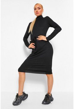 Black Long Sleeve Rib Drawstring Midi Dress