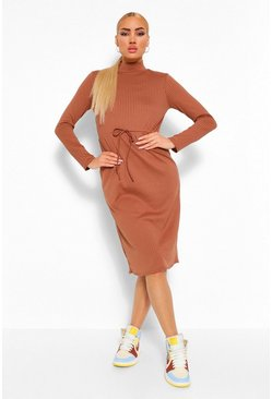 Chocolate brown Long Sleeve Rib Drawstring Midi Dress
