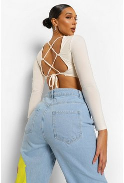 Ecru white Double Slinky Lace Up Back Crop Top