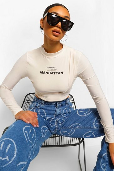 Ecru white Double Slinky High Neck Slogan Crop Top