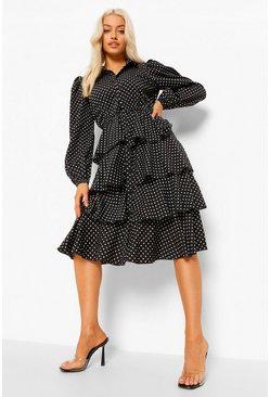 Black Polka Dot Tired Midi Shirt Dress