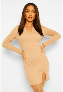 Stone beige Long Sleeve Plunge Split Front Mini Dress