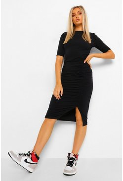 Black Extreme Split Cap Sleeve Midi Dress