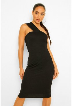 Black One Shoulder Bodycon Midi Dress